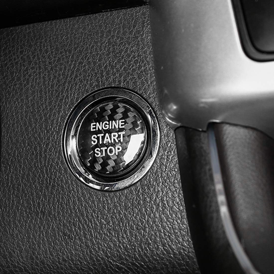 Engine Start Stop Push Button Cover Push to Start Button Frame Decal Sticker Carbon Fiber fit for Chevrolet Camaro Black