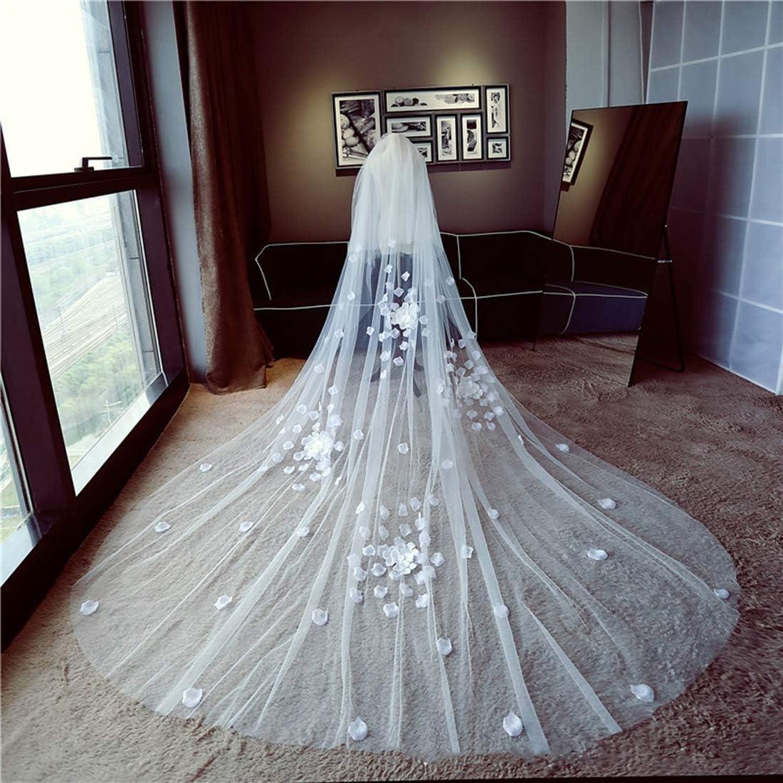LWKBE Tulle Blanc 2T Voiles de mari/ée 3M 4M 5M Mariage /à la cath/édrale Longues Fleurs en 3D et p/étales de Voile avec Peigne pour c/ér/émonie de Mariage et Occasions sp/éciales,3Meters