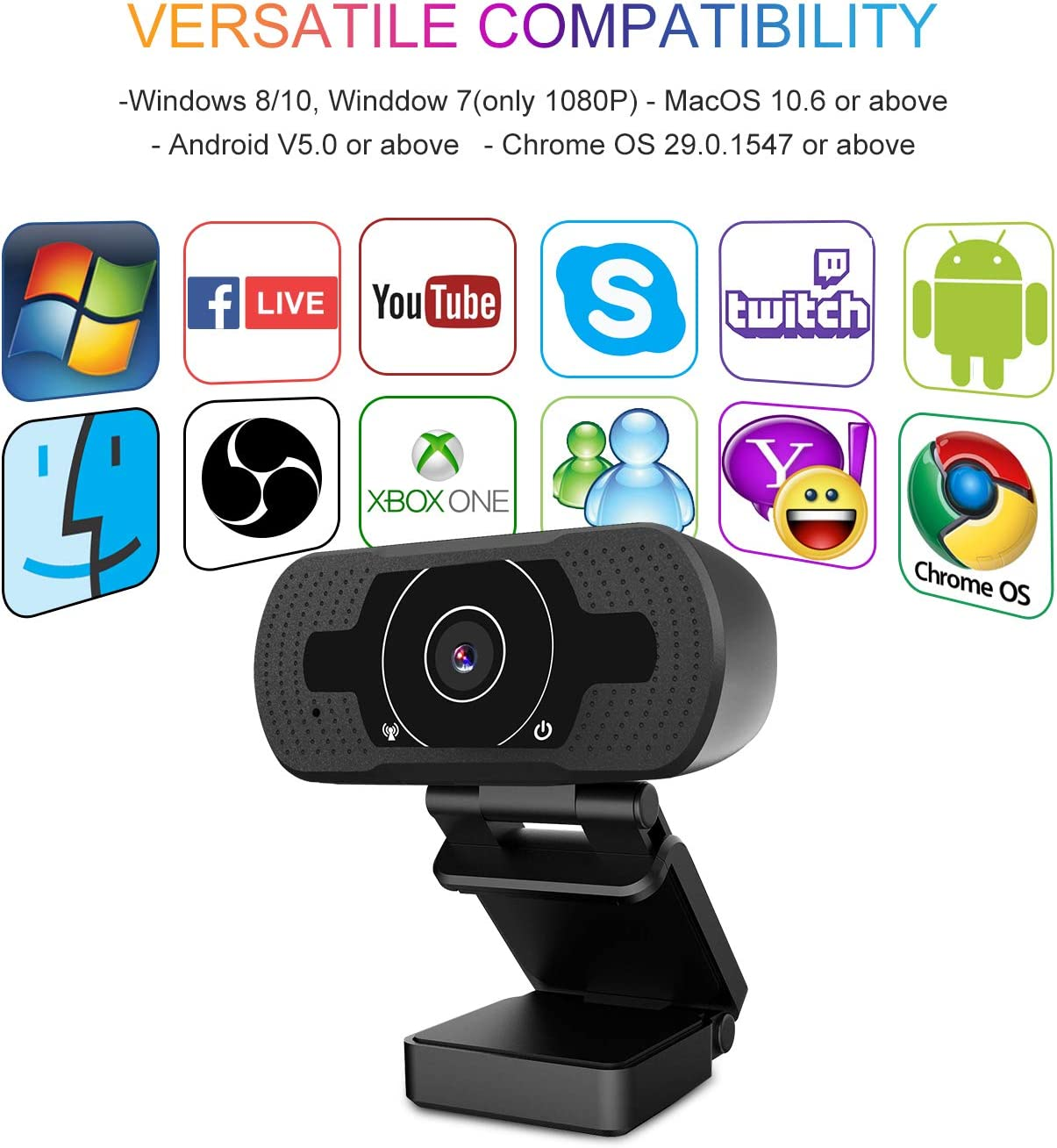 Auto Focus Web Camera for Video Conference OBS Twitch YouTube XBOX ONE Game Streaming TV Skype HD Pro Webcam 4K//1080P Akyta 8MP PC Laptop Computer Camera USB Webcam with Microphone 4K webcam