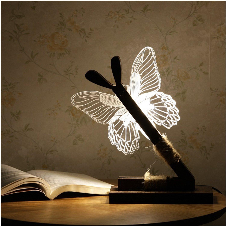 3D Illusion Table Lamp Owl Butterfly Puppy Dog Shape LED Desk Night Light (owl) Univegrow