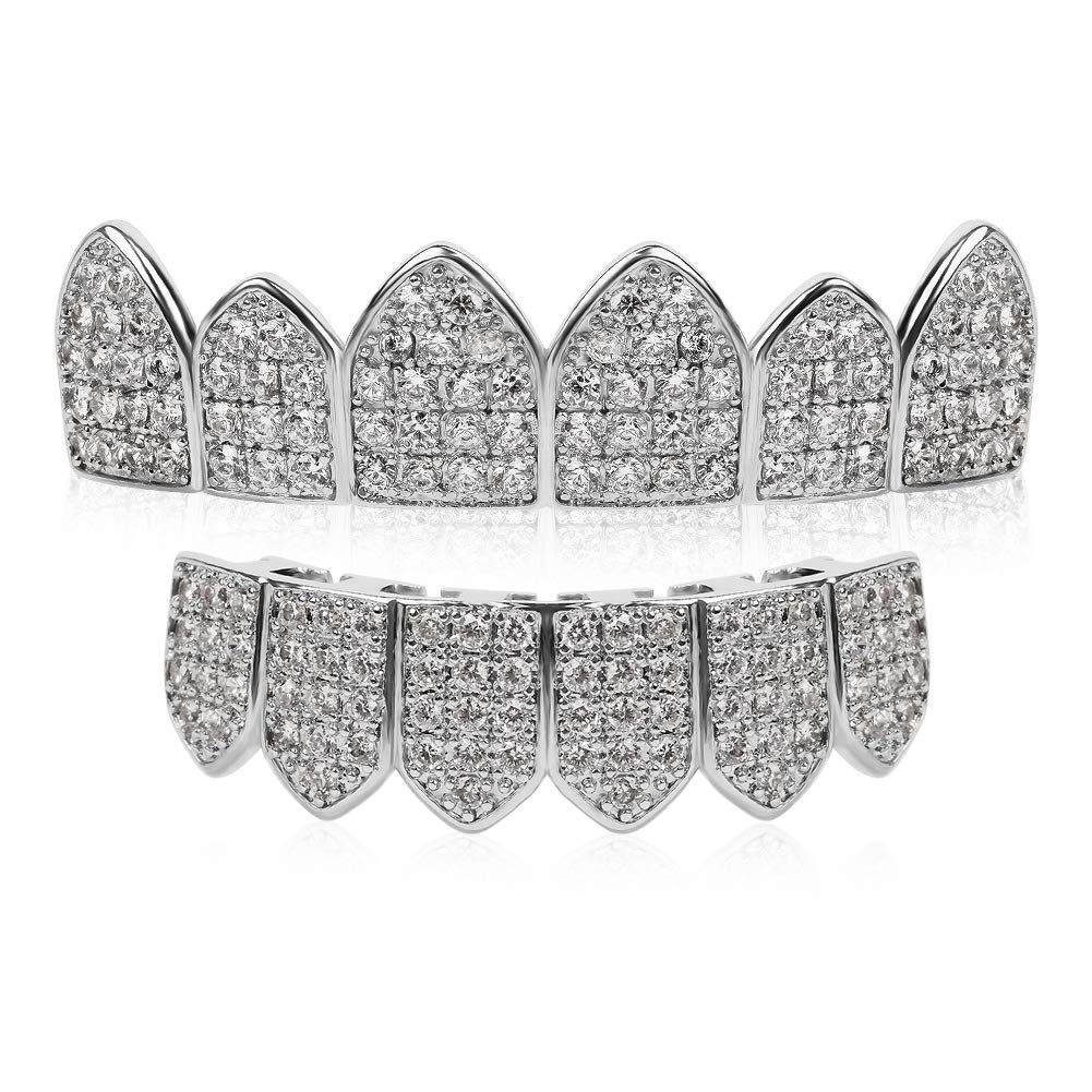 TSANLY Silver Grillz Set Macro Pave CZ White Gold Plated Iced-Out with Extra Molding Bars