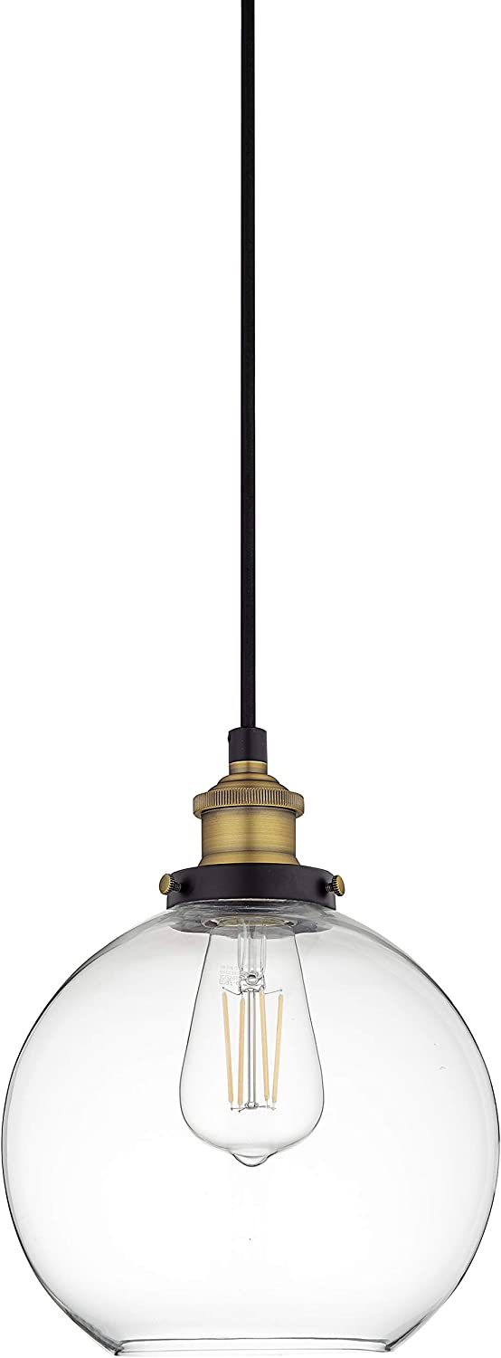 Primo Large Glass Globe Pendant Light Fixture Black And Gold Hanging Pendant Lighting For Kitchen Island Mid Century Modern Ceiling Light With Clear Glass Shade Amazon Com