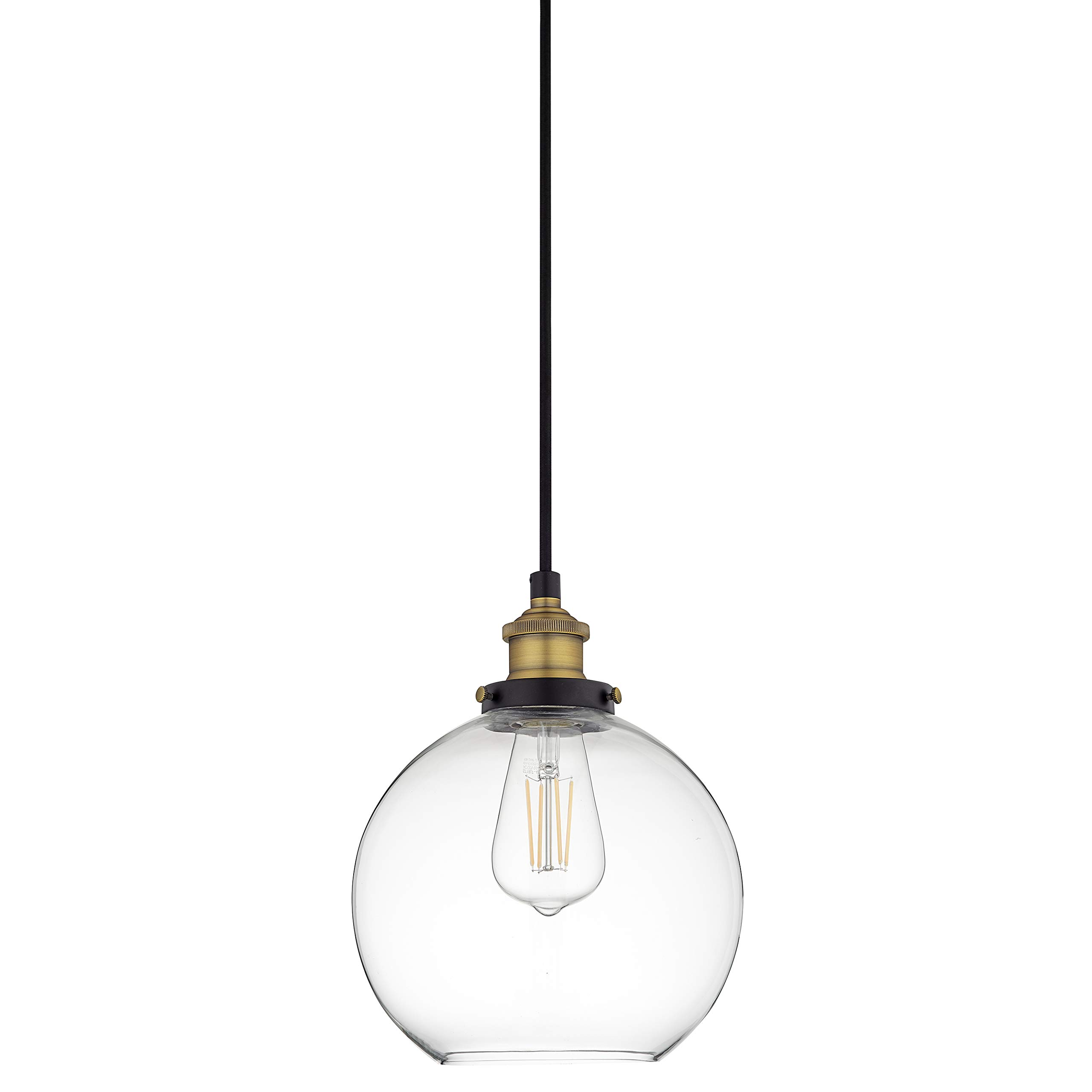 Primo Industrial Kitchen Pendant Light - Antique Brass Hanging Fixture - Linea di Liara LL-P429-AB
