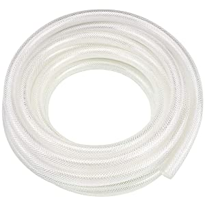 "1/2"" ID x 10 Ft High Pressure Braided Clear PVC Vinyl Tubing Flexible Vinyl Tube, Heavy Duty Reinforced Vinyl Hose Tubing, BPA Free and Non Toxic"