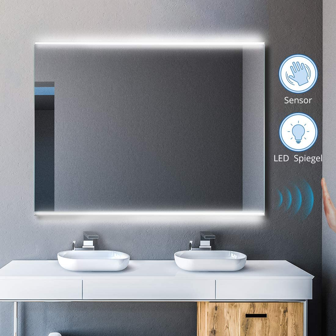 Amazon Com Cozy Castle Led Bathroom Mirrors With Infrared Sensor Backlit Bathroom Mirror With Lights Lighted Wall Mounted Mirror 36 X 28 Sensor Switch Frameless Horizontal Vertical Daylight Kitchen Dining