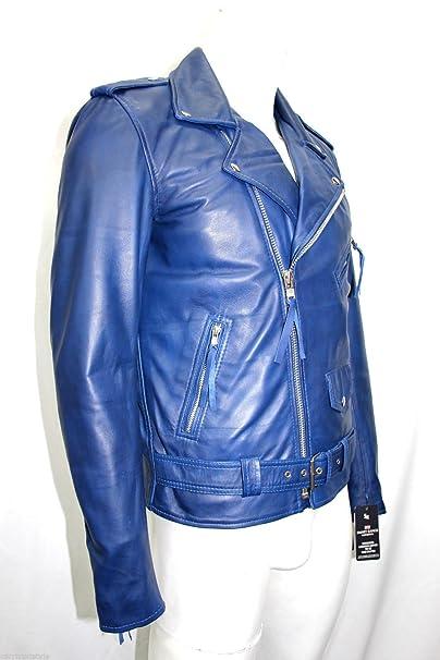 hombre brando suave azul real Nappa cuero moto chaqueta de la motocicleta (UK 3XL /