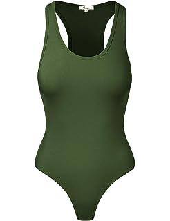 89ee321ebdae Amazon.com: ENIDMIL Women's Tank Top High Neck Sleeveless Bodysuit ...