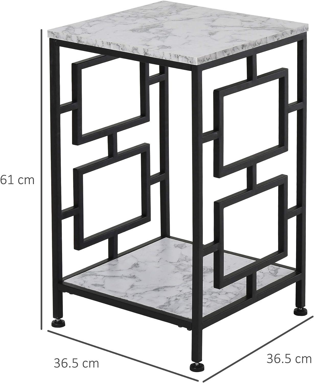homcom Tavolino da Salotto Vintage con Effetto Marmo in Metallo Nero 2 Ripiani e Piedini Antiscivolo 36.5x36.5x61cm