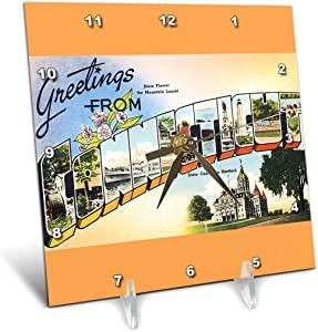 3dRose dc_180231_1 Greetings from Connecticut Scenic Postcard with State Flower-Desk Clock, 6 by 6-Inch