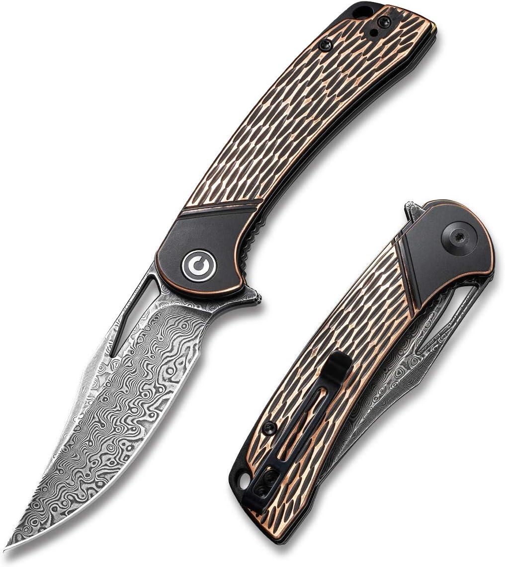 CIVIVI Dogma Flipper Pocket Knife Black Polished Copper Handle (3.46'' Black Hand Rubbed Damascus) C2005DS-2