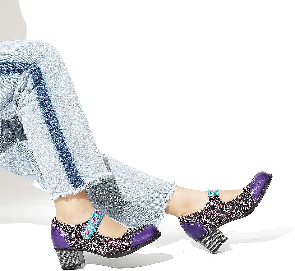 Gracosy Bottes Cuir Femmes Chaussures de Ville /à Lacets avec Dessin des Roses Bottines Mocassins Talons Hauts Boots Boh/ème Confortable Original Printemps /Ét/é Violet Bleu