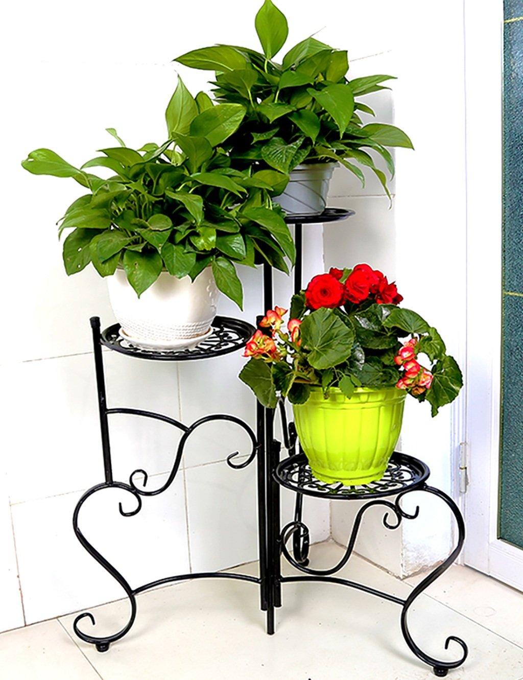 LB huajia ZHANWEI Eisen Blume Blumenregal im europäischen Stil Mehrstöckige Blumenregale Kreative Balkon Blumenregal Einfache Indoor-Pflanzen Blumentöpfe Flower Rack (Farbe : SCHWARZ)