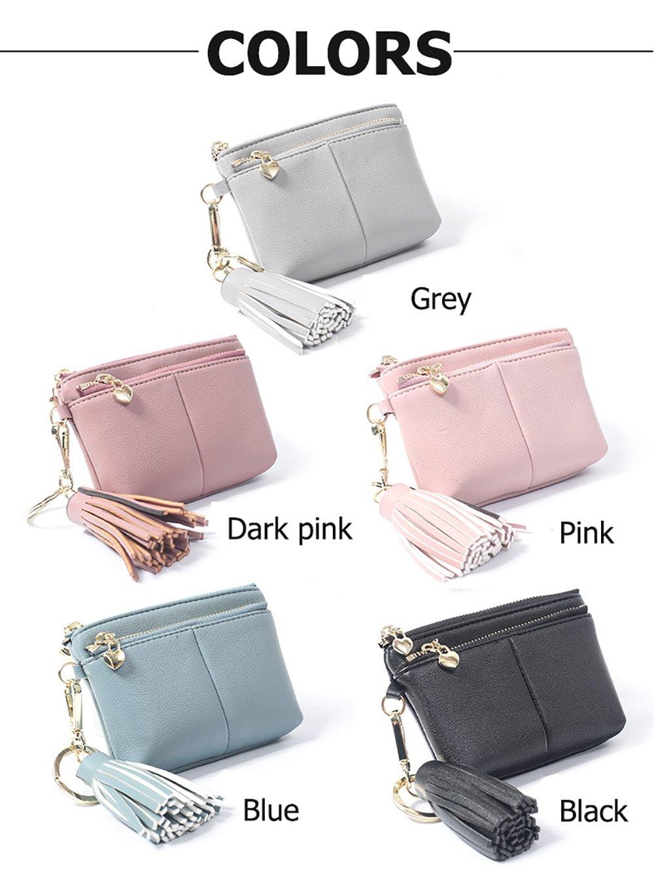 Womens RFID Blocking Slim Key Holder Wallet Card Holder Coin Cash Key Organizer with Ring Tassel (#2 Pink) by IFUNLE (Image #7)