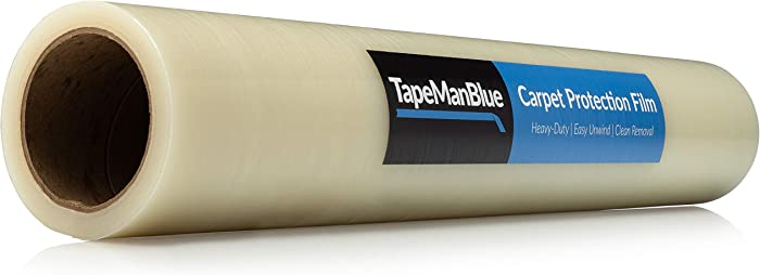 "Carpet Protection Film 24"" x 200' roll. Made in The USA! Easy Unwind, Clean Removal, Strongest and Most Durable Carpet Protector. Clear, Self-Adhesive Surface Protective Film."
