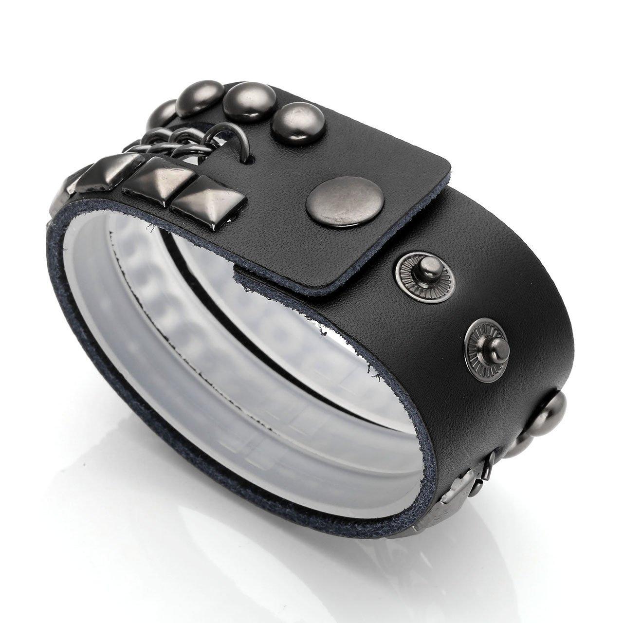 766c4f9653f PiercingJ - Bijoux Bracelet Leather Cuir Veritable Reglable Circonference de  Bras Cloute Large avec Chaine de Fer ...