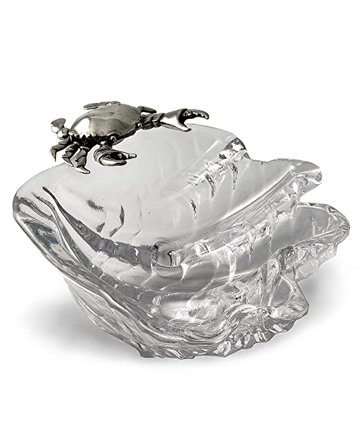 Coastal Christmas Tablescape Décor - Large Pewter Crab and Glass Seashell Serving Bowl by Vagabond House