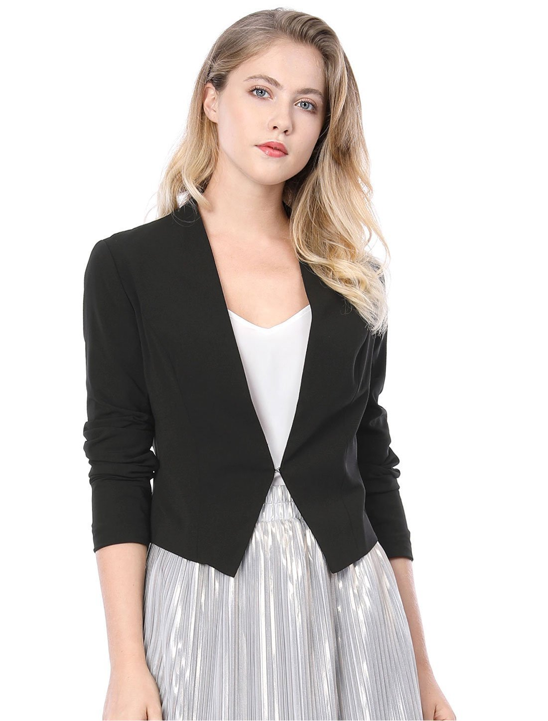 Women's Collarless Work Office Business Casual Cropped Blazer L Black
