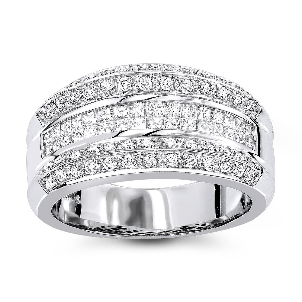 Luxurman 14K Gold Womens Natural Diamond Bands Collection Item (White Gold Size 7)