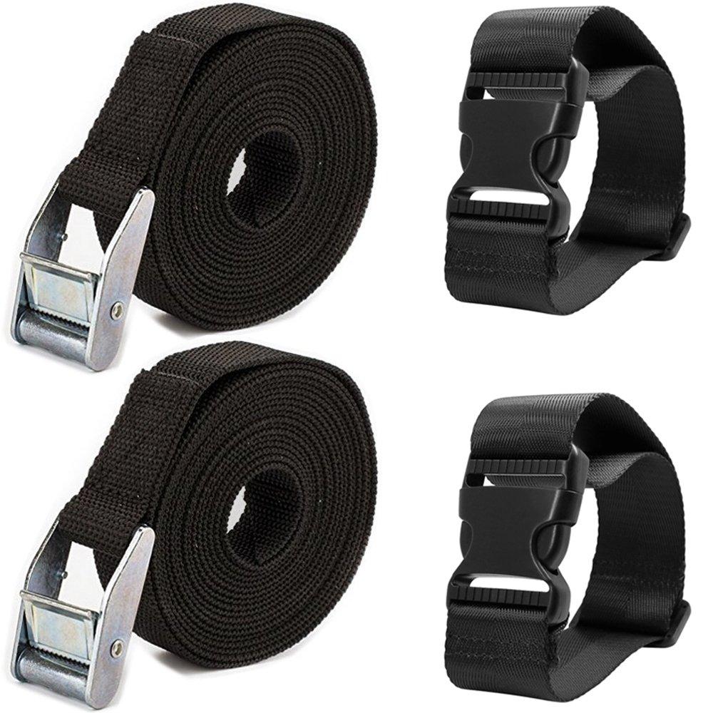 /Noir Cargo darrimage Sangle r/églable et ceinture de valise Sac de voyage Accessoires de fixation/ AFUNTA 4/pcs de sangles darrimage et dajouter une ceinture de bagages
