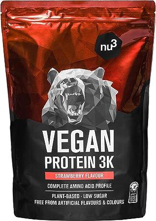 Batidos de proteínas veganas - Proteína vegetal 3K en polvo - de 3 componentes vegetales (guisante, cáñamo & arroz) - 1 Kg sabor fresa - Para ...