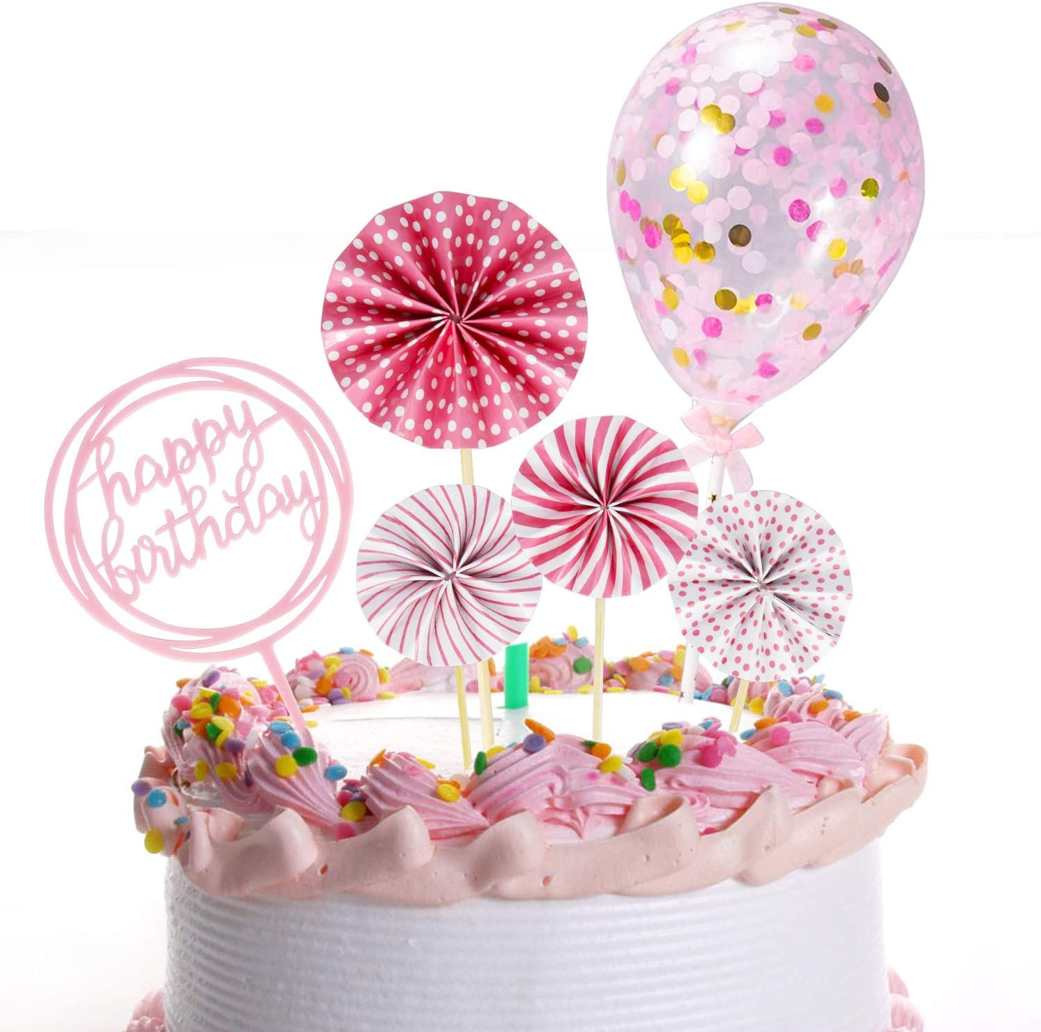 Izoel Rose Gold Cake Decoration Rose Gold Happy Birthday Candles Happy Birthday Banner Confetti Balloon Stars Cake Topper For Rose Gold Theme Party Decor Girl Kid Women Birthday Party Baby Shower Cooking