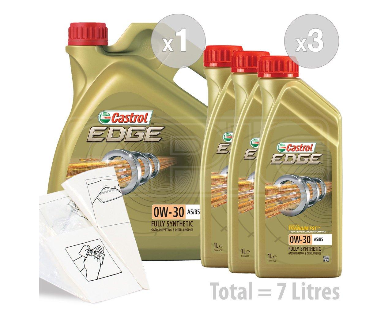 Castrol EDGE Aceite de motor de coche A5/B5 totalmente sintético de titanio 0 W-30 FST - Service Pack: 7 litros: Amazon.es: Coche y moto