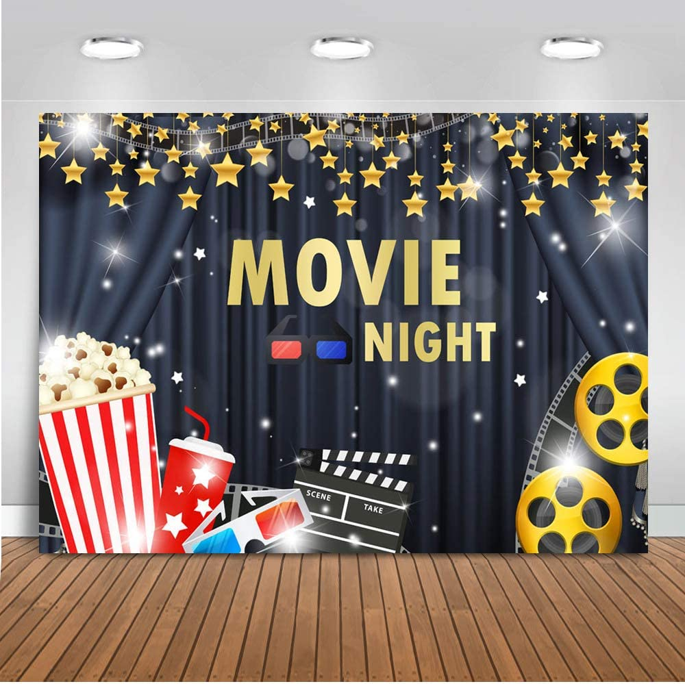 Mocsicka Movie Night Backdrop 7x5ft Hollywood Cinema Lights Camera Action Birthday Party Decorations Photo Backdrops Popcorn Film Theater Awards Happy Birthday Photography Background