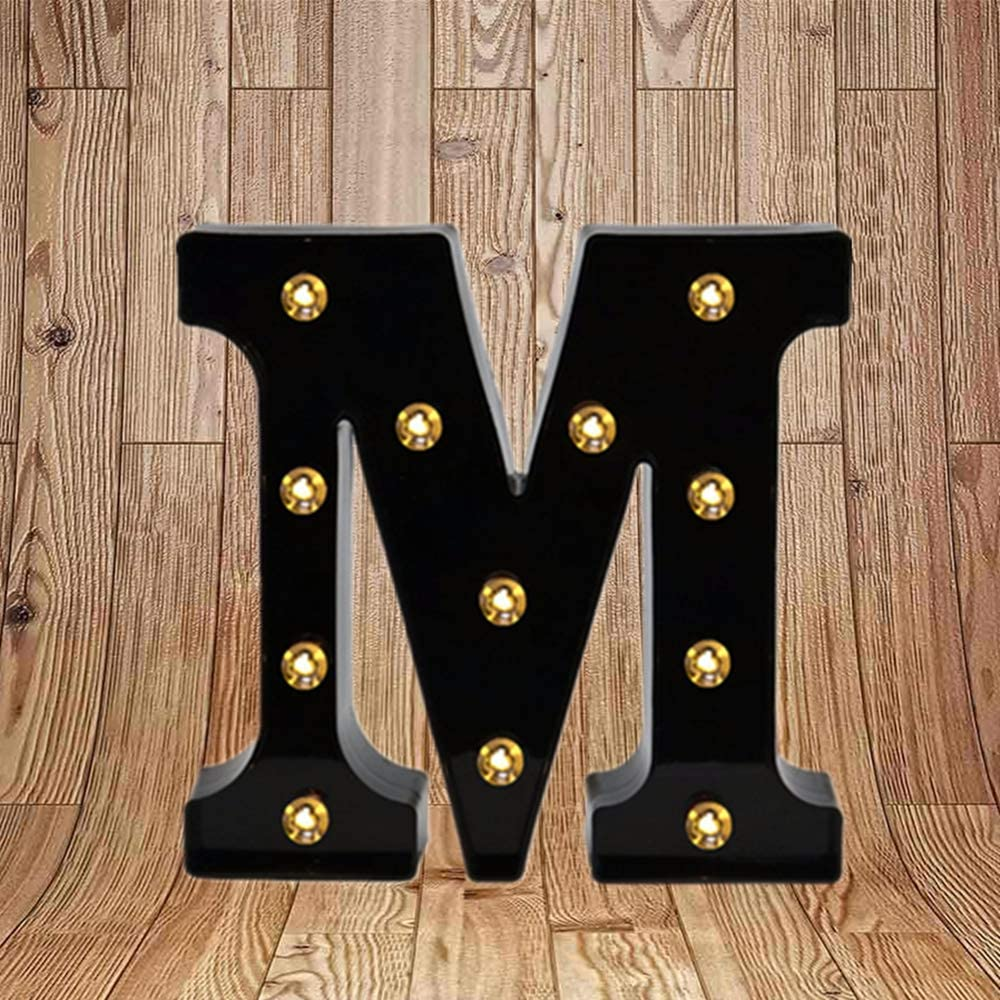 Led Black Number Letter Lights Sign For Night Light Up Wedding Birthday Party Battery Powered Christmas Lamp Home Bar Wall Mounted Decorative