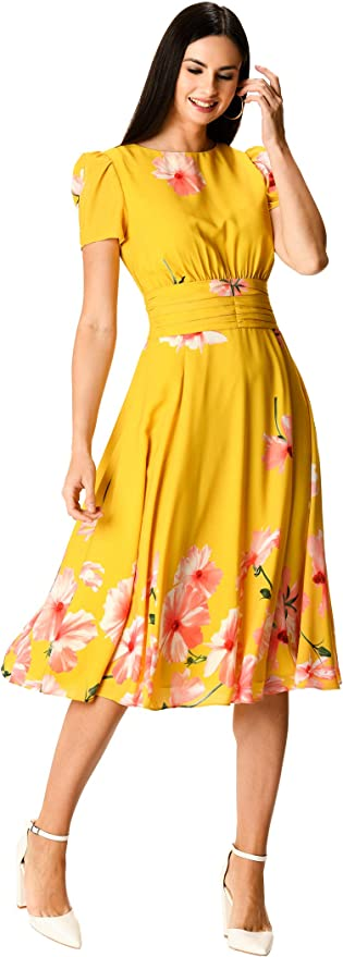 1940s Dresses | 40s Dress, Swing Dress eShakti Womens Floral Print Pleated Empire Crepe Dress £74.95 AT vintagedancer.com