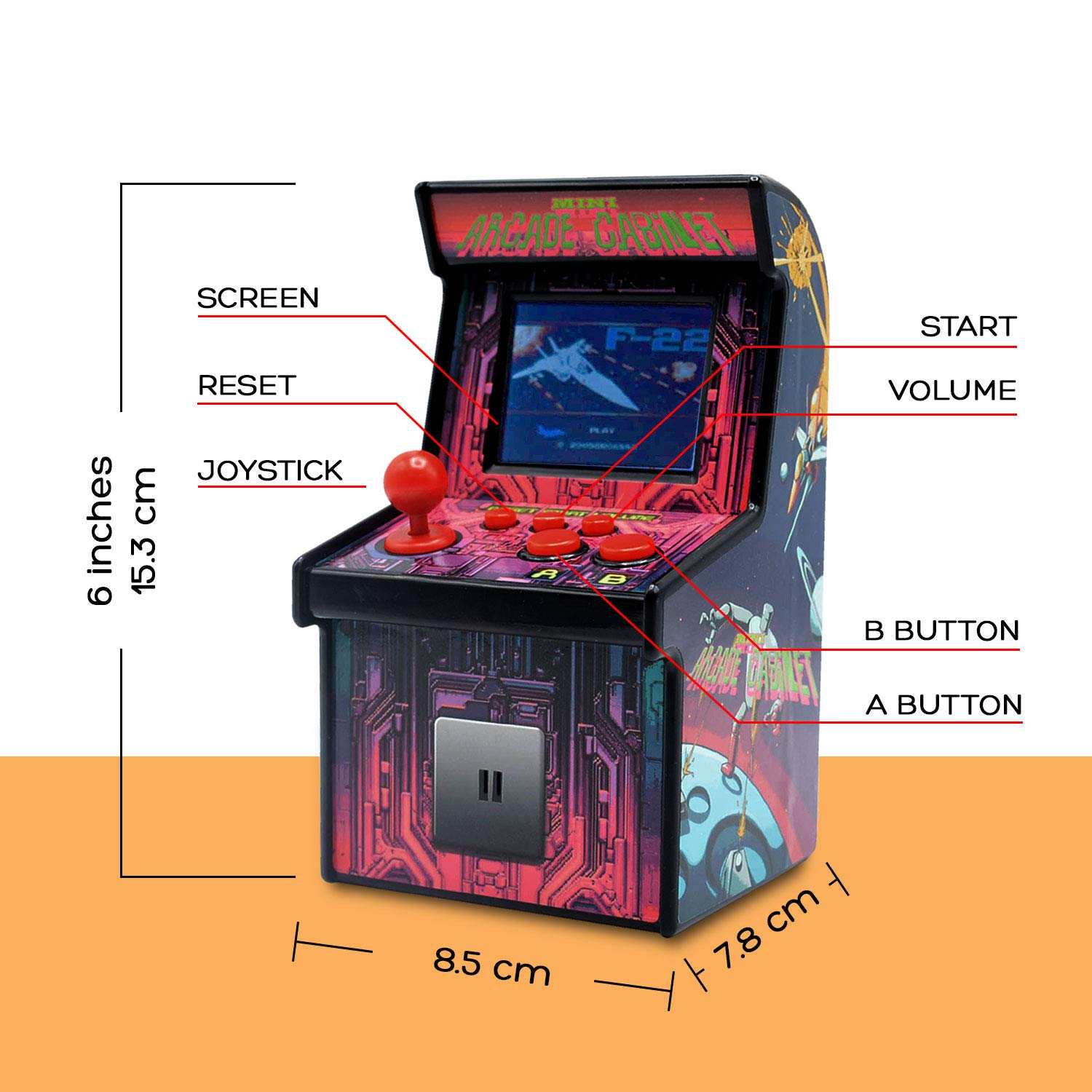 Funderdome Battery Powered Mini Arcade Game, Arcade Machine, Retro Tiny Video Game Arcade Cabinet, Portable Electronic Handheld Gaming Console for Kids with 200 Classic Video Games by Funderdome (Image #3)