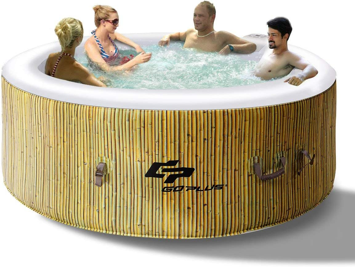 Costway Cosway Round Inflatable Spa 4 Seater 800 L With Pump Heater Air Pump Filter 180 X 180 X 65 Cm Garten