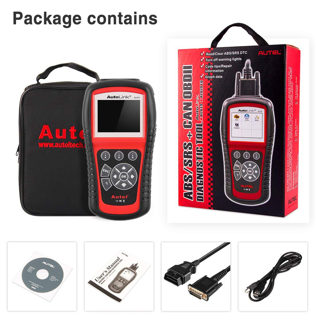 Autel AutoLink AL619 OBD2 Scanner ABS/SRS Diagnostic Scan Tool,Turns Off Engine Light (MIL) and ABS/SRS Warning Lights,Same Function as The ML619 Code Reader by Autel (Image #8)