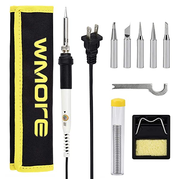 Wmore Soldering Iron Kit,Includes:110V 20W To 60W Variable Temperature Soldering Iron,1xSolder wire,5xSoldering Iron Tips,1xSoldering Stand.Perfect Fo