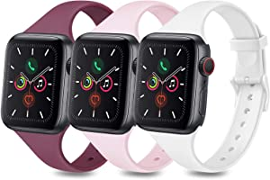 3 Pack Sport Bands Compatible with Apple Watch Band 38mm 40mm 42mm 44mm, Slim Thin Narrow Soft Silicone Replacement Strap for iWatch Series 6 5 4 3 2 1 SE (Wine Red/Pink/White, 38mm/40mm-S/M)
