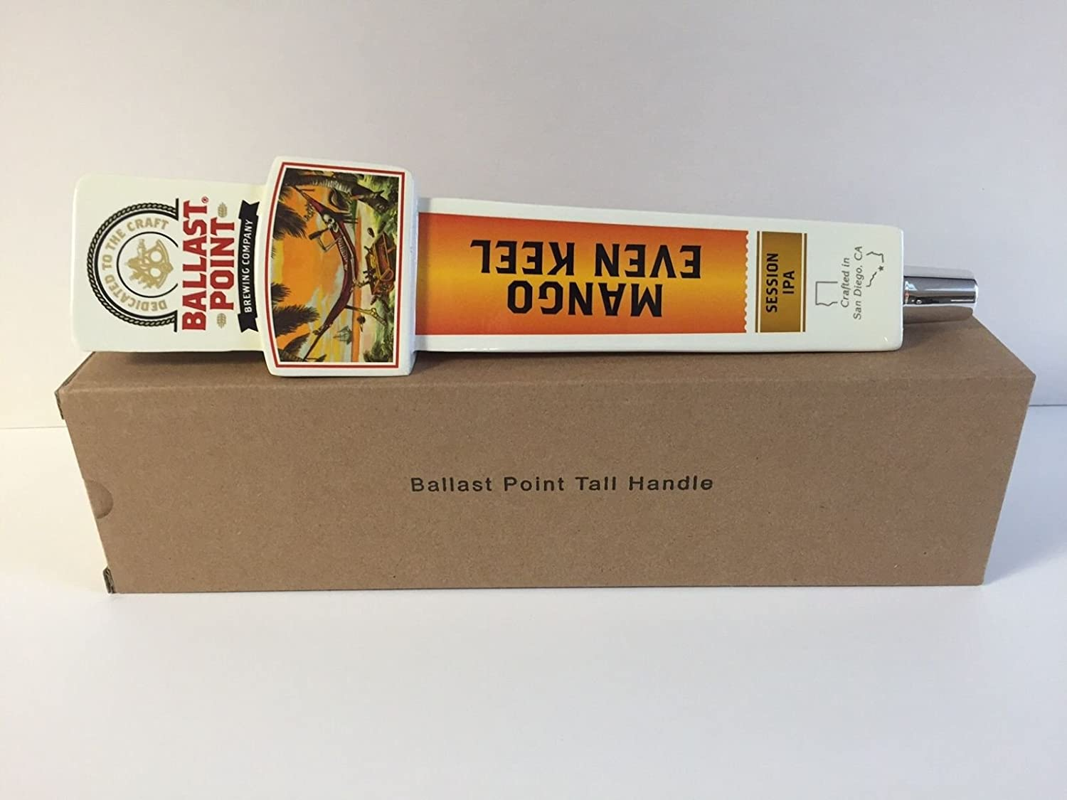 """Ballast Point Mango Even Keel IPA Beer Tap Handle 11.5"""" Tall Brand New In Box!"""