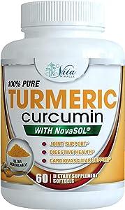 Turmeric Curcumin Supplement Liquid Softgels -185 X Absorption Compared To 95% Standardized Curcuminoids with BioPerine Black Pepper Extract Anti inflammatory Joint Pain Relief Curcuma