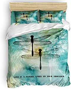 Yogaly Home Bedding Set 4 Pieces Queen Size for Adults/Teens/Children/Baby Dragonfly Love is a Nature Angel on Your Shoulder Printed Bed Sheets, Duvet Cover, Flat Sheet, Pillow Covers