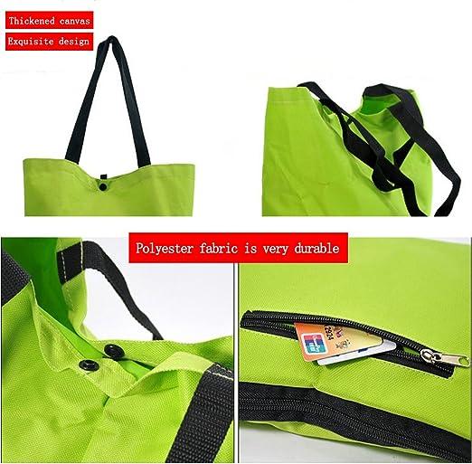 Tragetasche Gep/äck tragbarer Einkaufstrolley f/ür Lebensmittel Faltbare Einkaufstasche mit 2 R/ädern