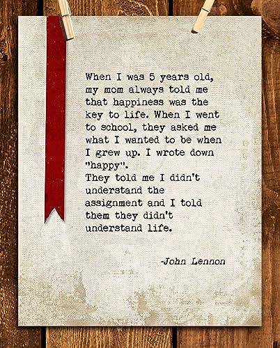 Amazoncom John Lennon Quotes Wall Art Grow Up To Be Happy 8 X