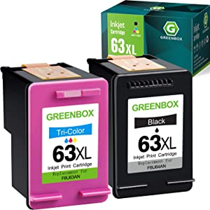GREENBOX Remanufactured Ink Cartridge Replacement for HP 63 63XL for Envy 4520 4512 4513 4516 OfficeJet 3830 5255 5258 DeskJet 1112 1110 3630 3632 3634 2130 2132 (1 Black 1 Tri-Color)