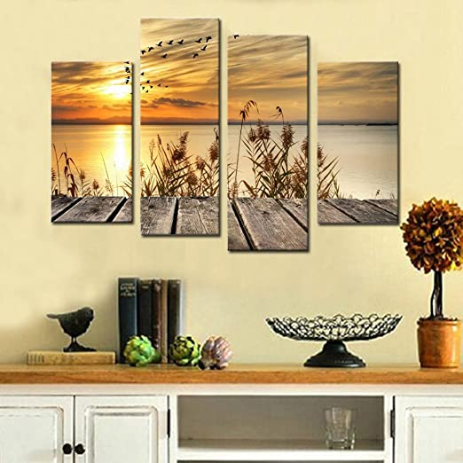 Noah Art-Rustic Seascape Wall Art Canvas Prints, Dawn on the Lake