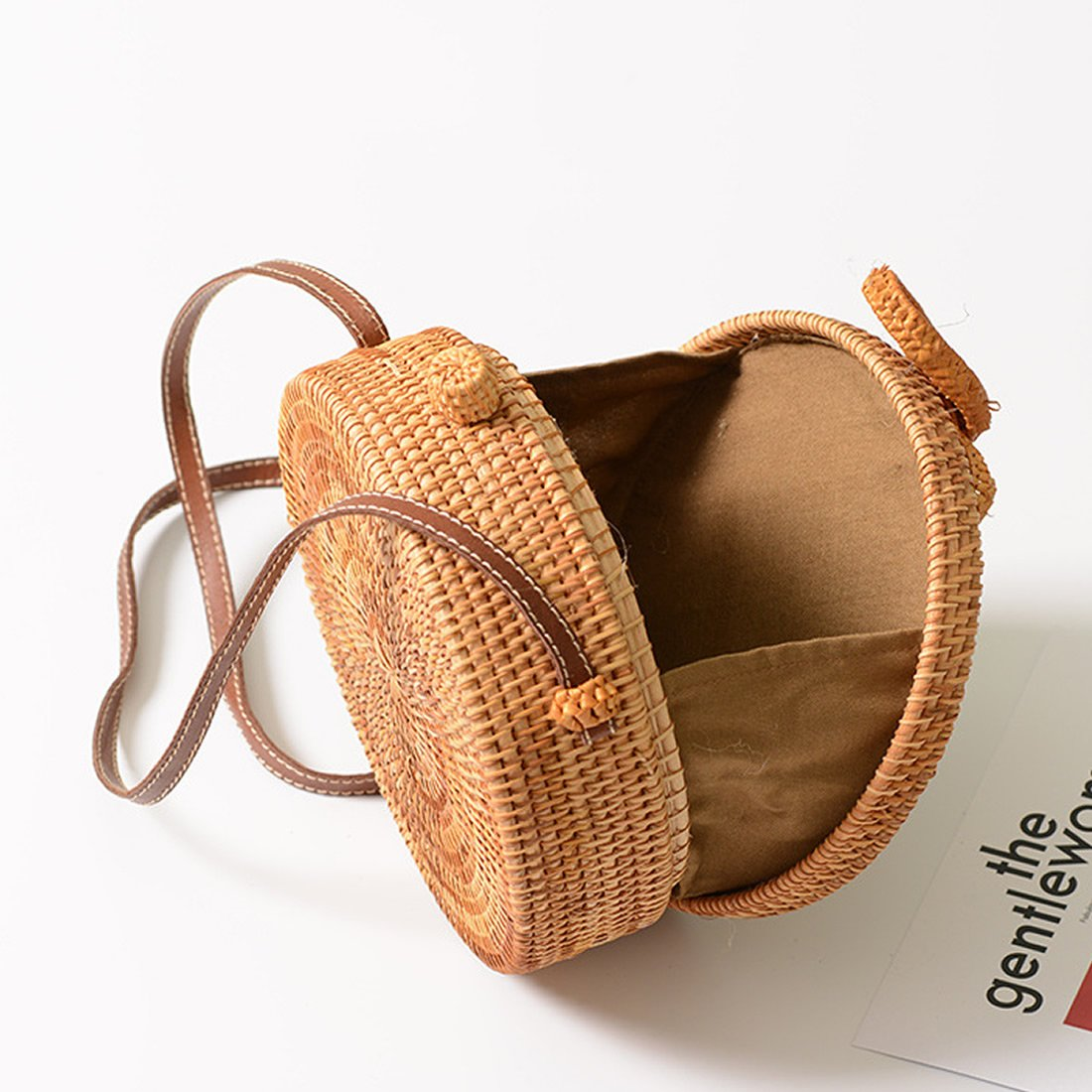 Straw Crossbody Bag, Vintage Handwoven Round Ata Rattan Shoulder Bag Straw Purse with Bow Clasp