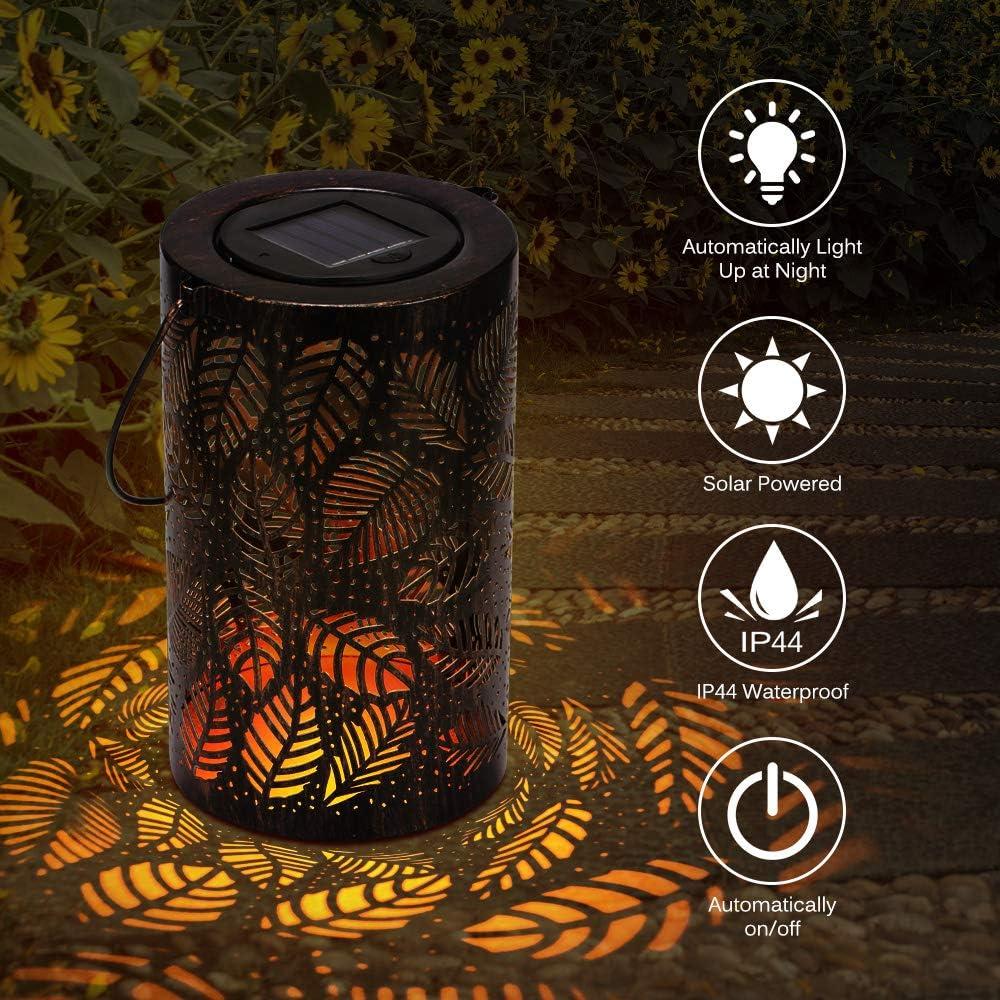 garden patio lighting metal warm whit antique Leaf Shadow Lantern timer