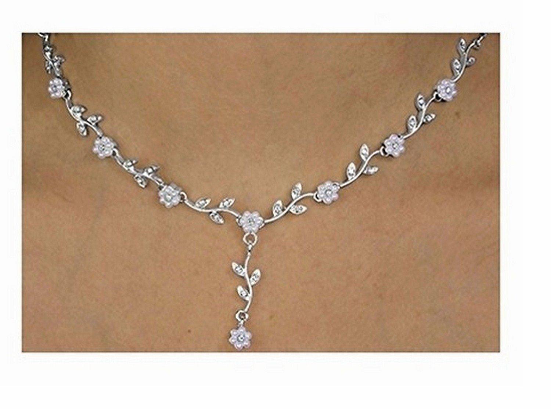 Elegant Faux Pearl & Austrian Crystal Flower Necklace & Earring Set by Lonestar Jewelry