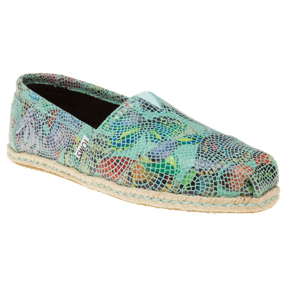TOMS Womens Classic Leather Closed Toe Espadrille Flats, Blue, Size 8.0