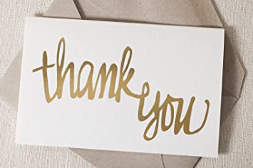 amazon com letterpressed gold foil cursive thank you cards by smock