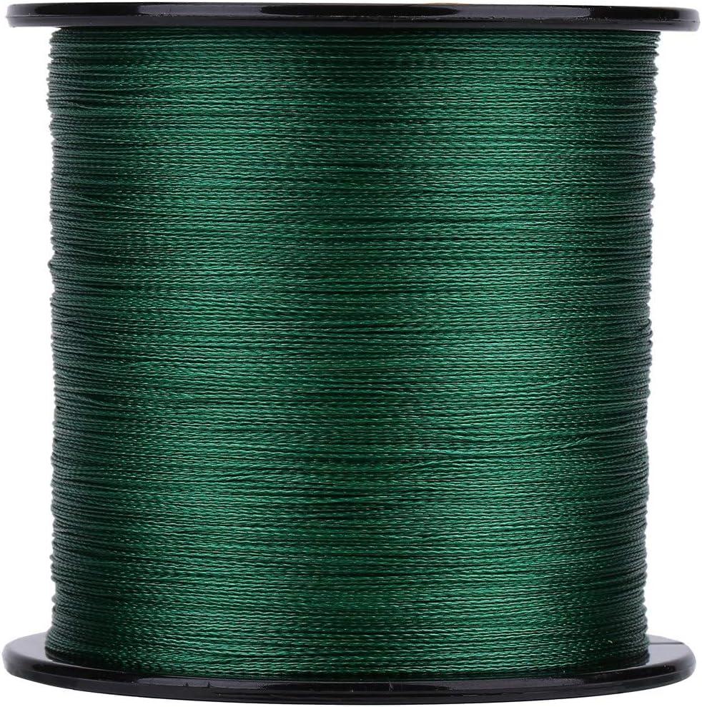 SOONHUA - Cuerda de pesca (500 m, 4 hilos), color verde