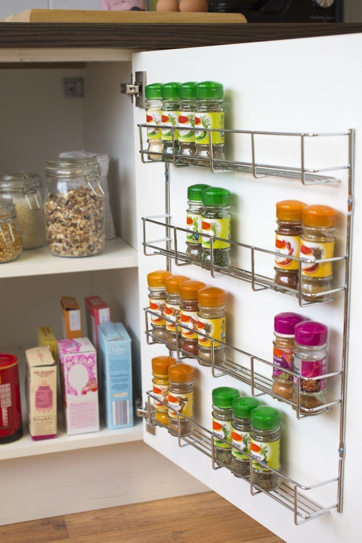 YonTree 6 Tiers Steel Spice Rack Herb Jar Holder Cabinet Shelf Storage Wall Organization