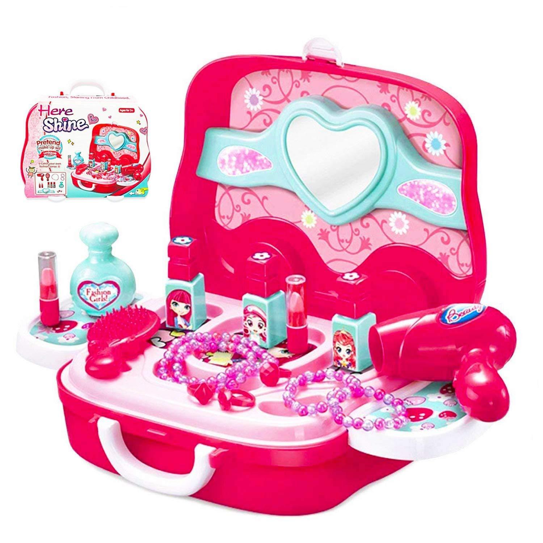 Little Girls Pretend Makeup Kit Cosmetic Pretend Play Set Kids Beauty Salon Makeup Set Toy for Children Best Gift Set with Mirror