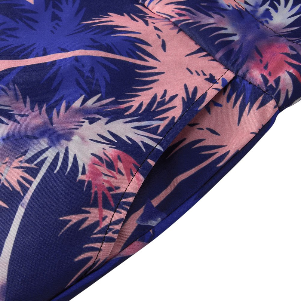 Goodstoworld Mens Jumpsuits 3D Tropical Leaves Print Zip up Romper Casual Grandad Shirt Cargo Shorts Overalls Playsuit for Men XXL by Goodstoworld (Image #7)